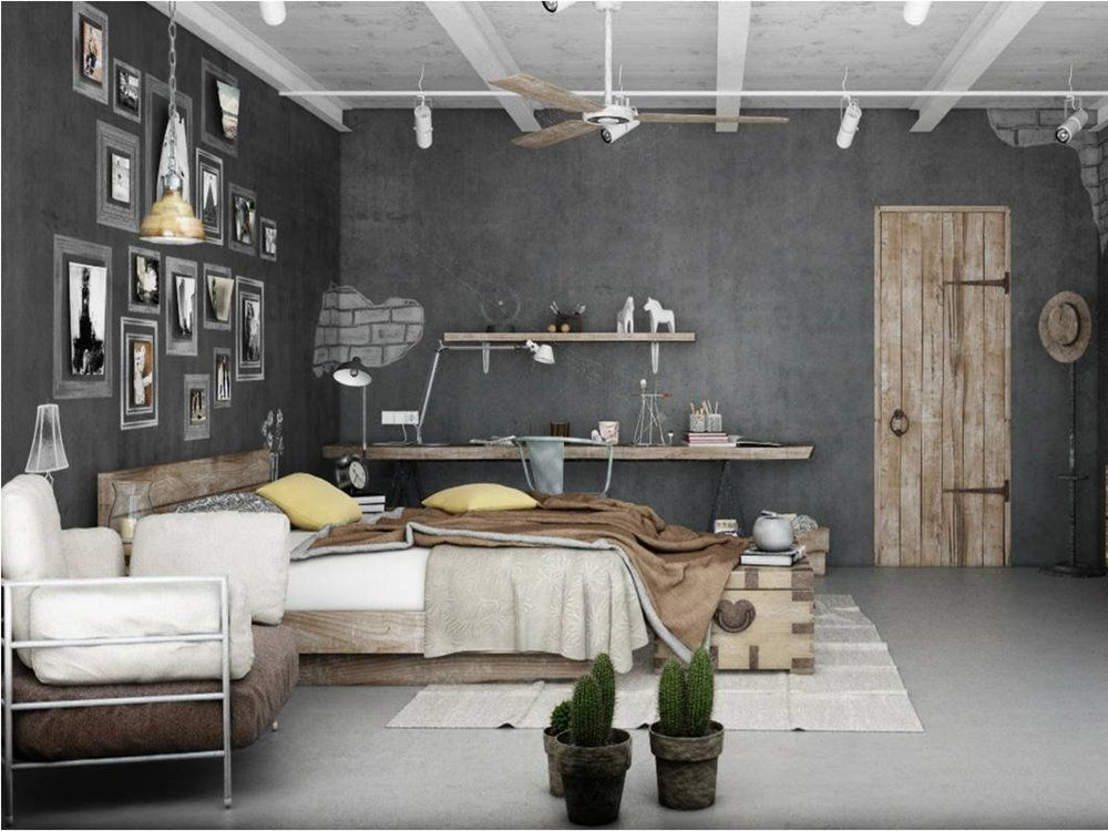 industrial theme bedroom