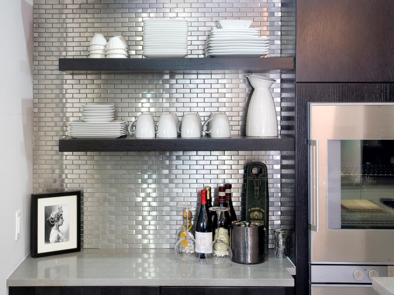 metal tiles backsplash