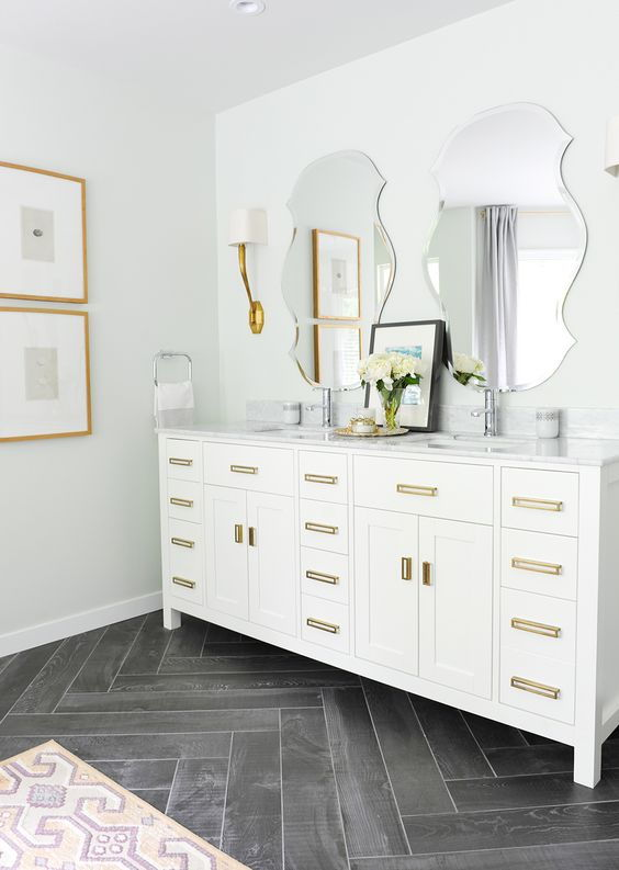 Chevron wood floor bathroom