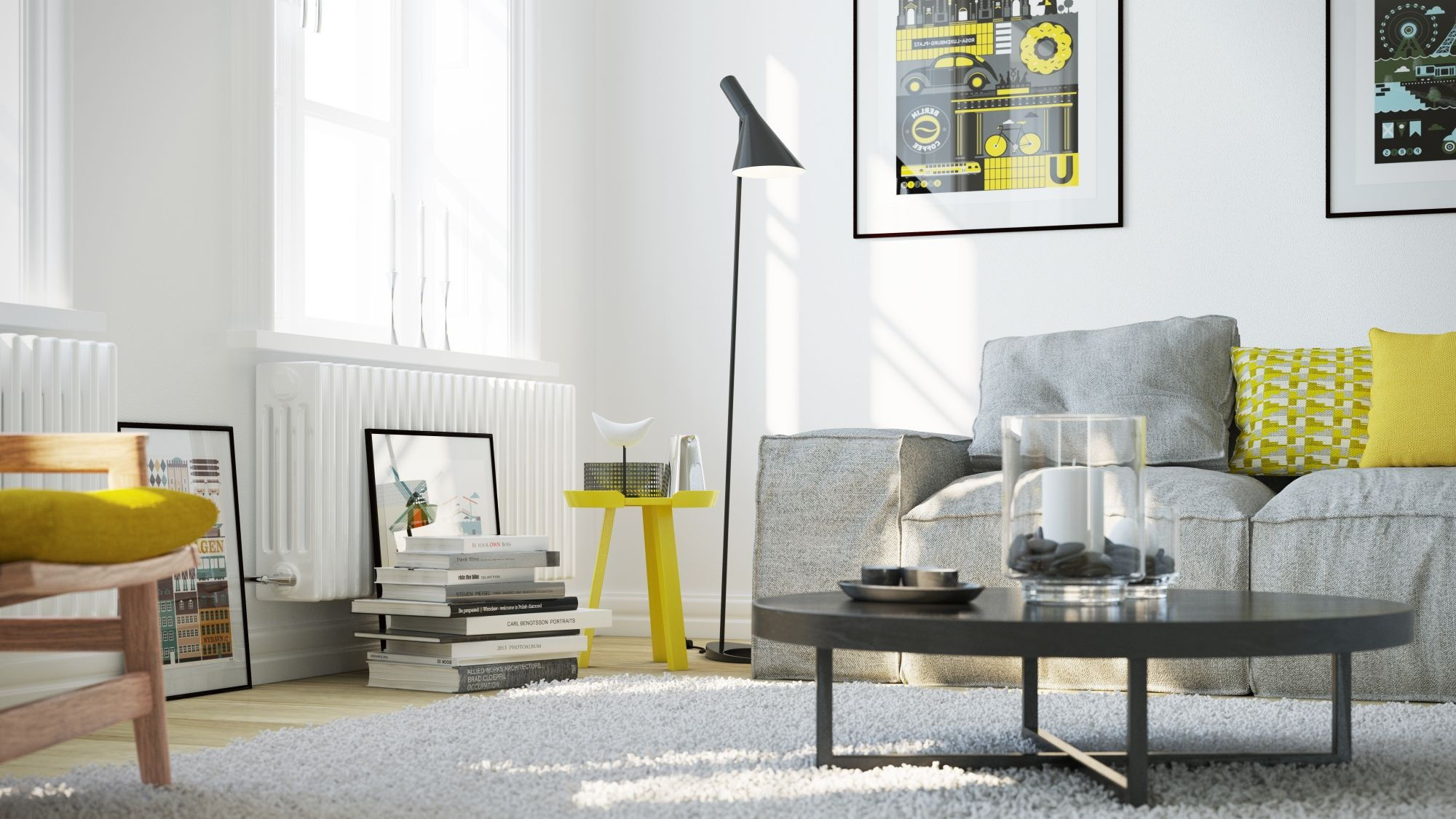 grey and yellow living area