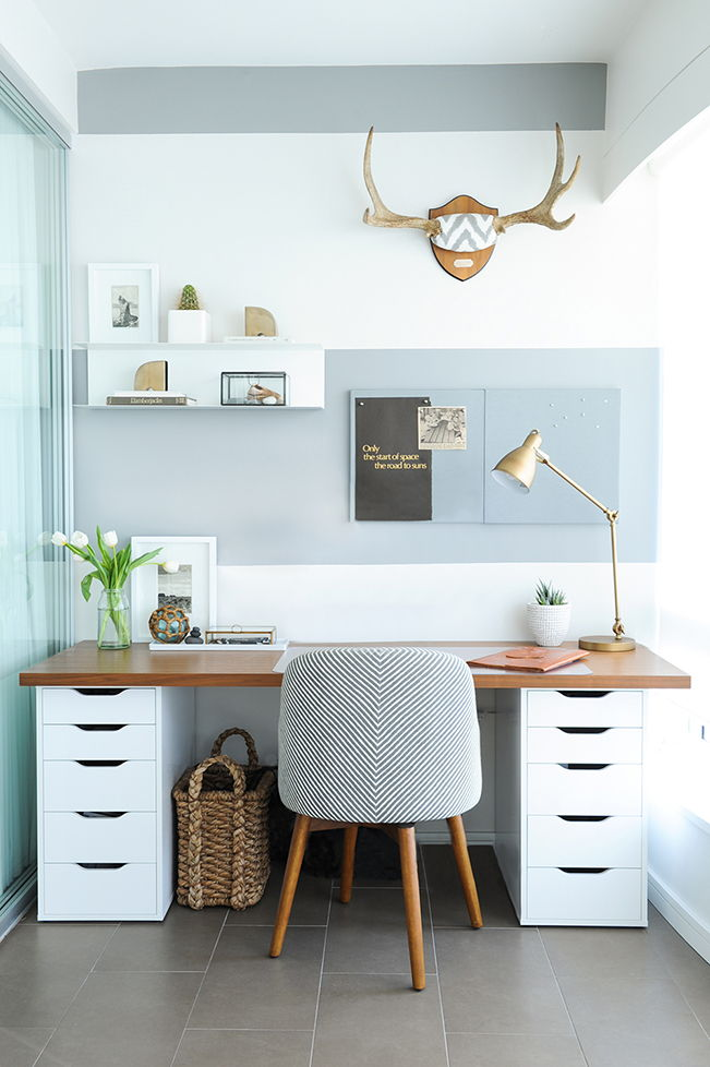 cool toned blue home office