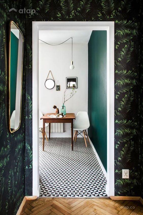 green wallpaper kitchen