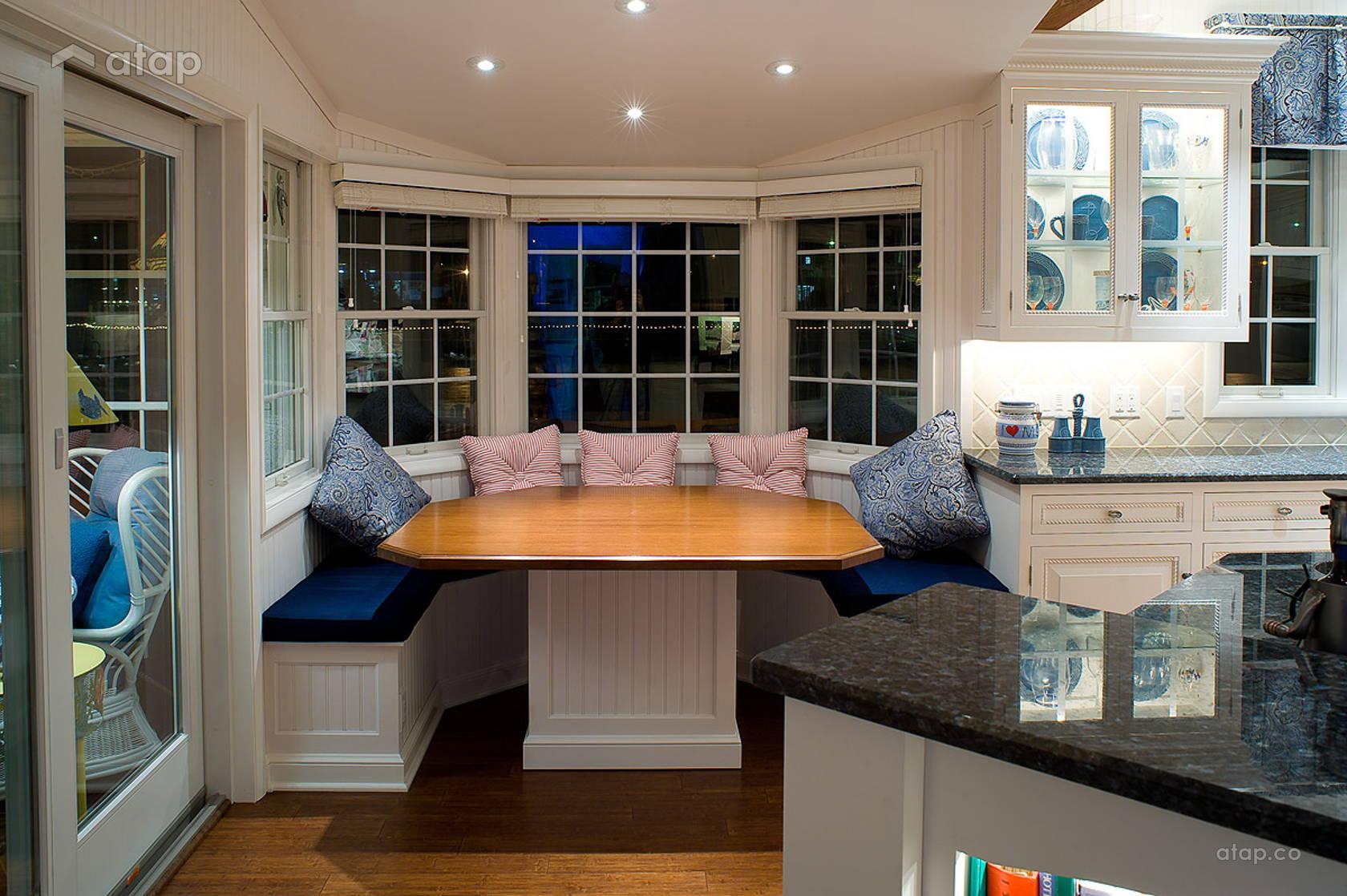Эркерные шторы для кухни: стильные шторы - фото идеи.