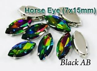 GLASS BEADS - BLACK AB HORSE EYE (H42)