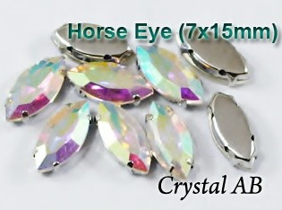 GLASS BEADS - CRYSTAL AB HORSE EYE (H41)