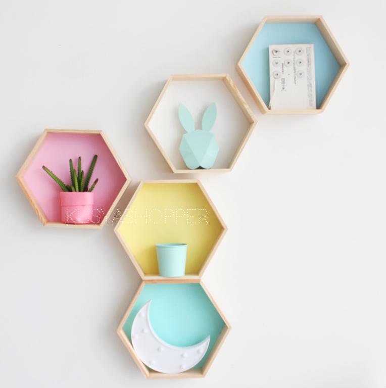 Hexagon Wooden Shelf