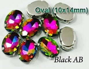 GLASS BEADS - BLACK AB OVAL (O42)