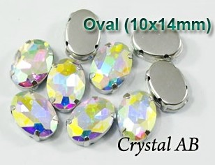 GLASS BEADS - CRYSTAL AB OVAL (O41)