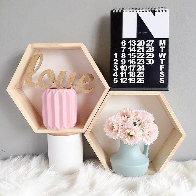 Hexagon Wooden Shelf Medium