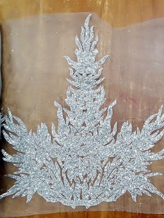 Glitter Border Lace Silver