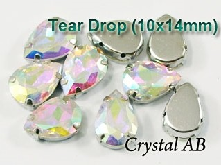 GLASS BEADS - CRYSTAL AB TEAR DROP (T41)