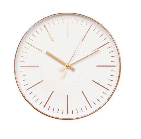 White Rose Gold Wall Clock