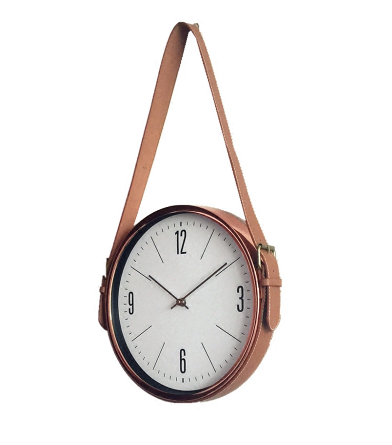 Rose Gold Wall Clock with Belt