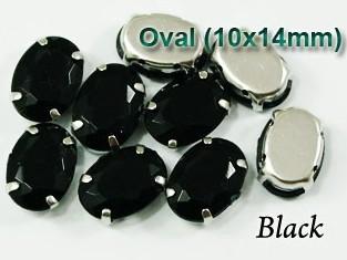 GLASS BEADS - JET BLACK OVAL (O45)