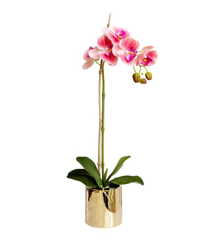 Artificial Orchid with Gold Vase