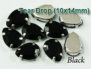 GLASS BEADS - JET BLACK TEAR DROP (T45)