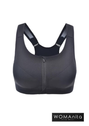 Anti Shock Zipper Bra (Black) S-L