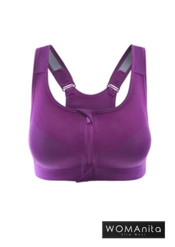 Anti Shock Zipper Bra (Purple) S-L