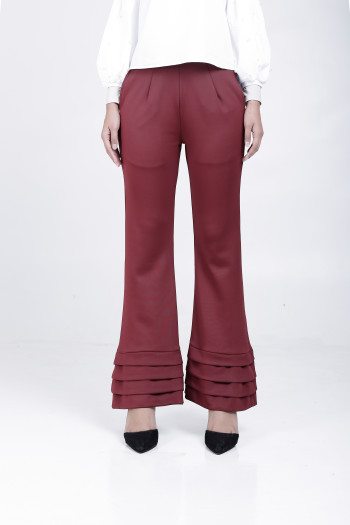 Alma Flared Pants Maroon