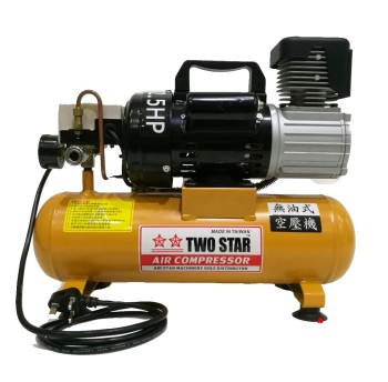 TWO STAR 220V AC Oil Free Air Compressor with 8 liters tank