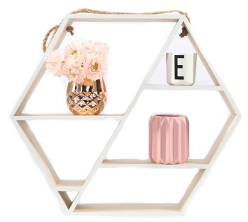 Hexagon Hanging Shelf Natural 53 x 46 cm
