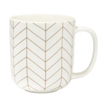 Herringbone Mug - White & Gold