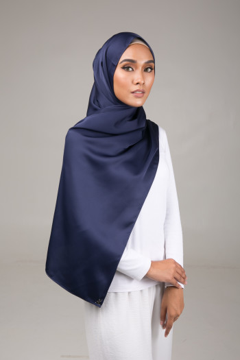 Satin Shawl Navy Blue