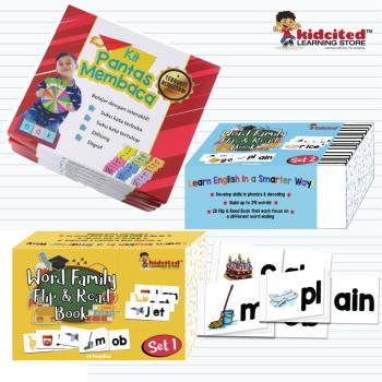 Kombo Kit pantas membaca dan Word family Flip & Read Book Set 1 &