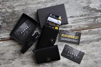 Cacas Premium Leather Slim Wallet - Limited Black Edition - Simple Series