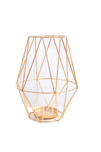 Wire Candle Holder Gold Rose