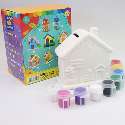 Ceramic House Coin Bank - Winter Cottage - Kidcited Learning Store