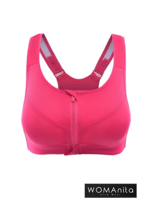 Anti Shock Zipper Bra (Pink) S-L - WOMAnita Slimwear