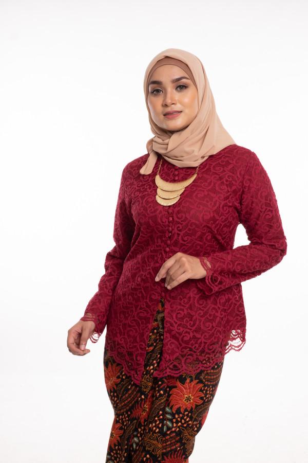 Nirmala Lace Maroon (Tops Only) - Haura Wear