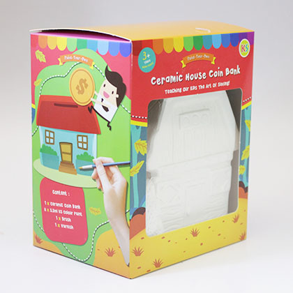Ceramic House Coin Bank - Wooden house - Kidcited Learning Store