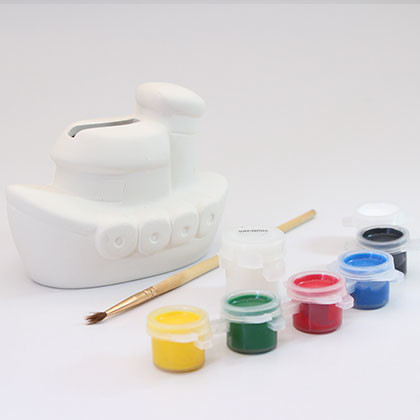Ceramic Coin Bank (S) - Boat - Kidcited Learning Store