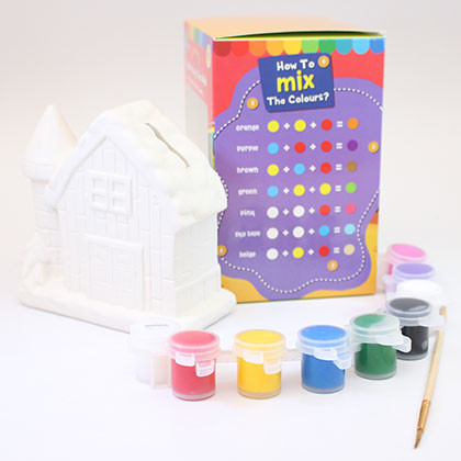 Ceramic House Coin Bank - Chimney House - Kidcited Learning Store