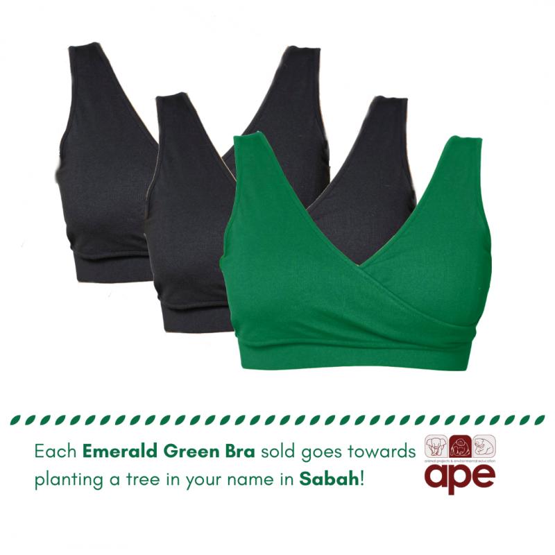 Real-Support Bra Emerald Green-Black Trio
