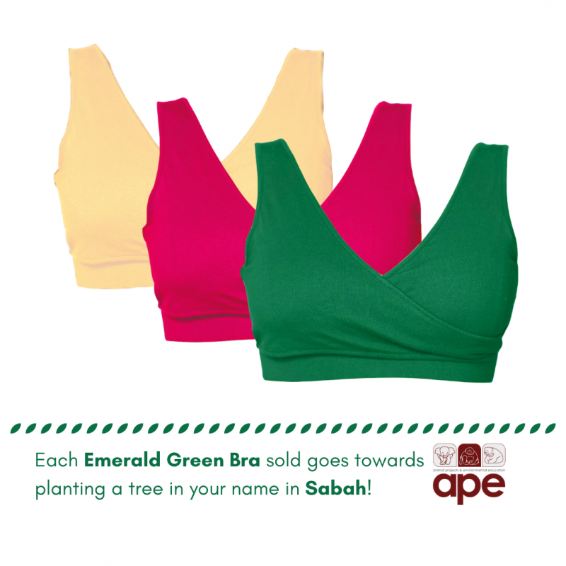 Real-Support Bra Emerald Green-Nude-Pink Trio