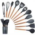 Silicone Set 11pcs peralatan spatula sutil KITCHEN SET colorful - Bunda Ina Shop
