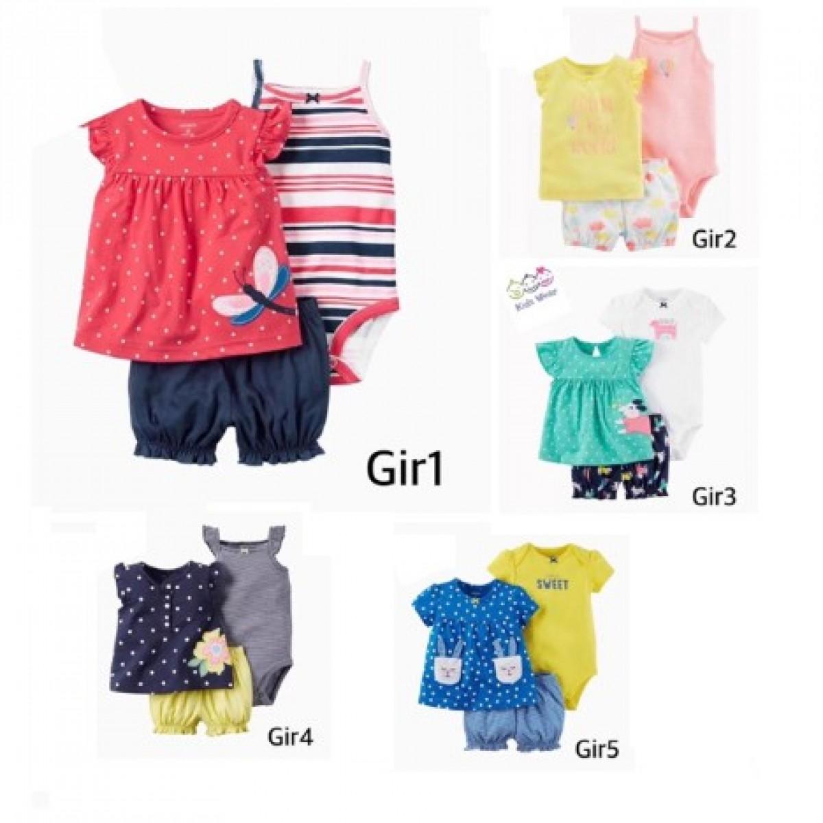 Girl 3-Piece Tee Bodysuit & Short Set - Bunda Ina Shop