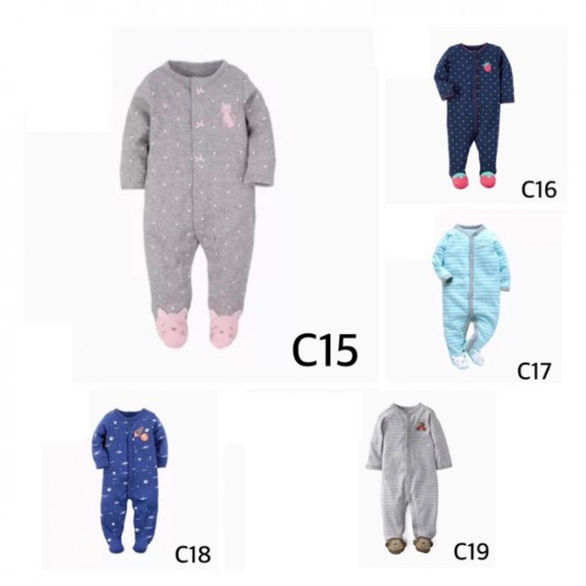 C15-19 Jumper panjang / jumper / jumper bayi / sleepsuit - Bunda Ina Shop