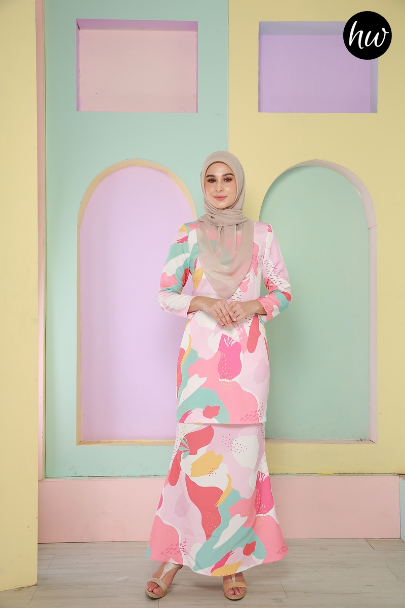 KURUNG LILY PEACH&TURQUOISE