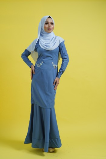BAJU RAYA 2020 KURUNG KAREENA IN STEEL BLUE
