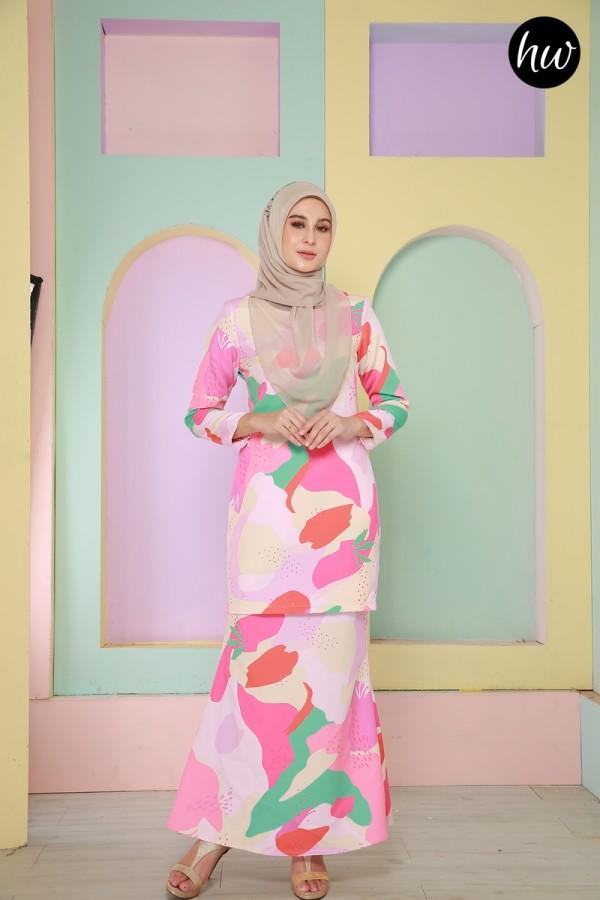 BAJU RAYA 2020 KURUNG LILY IN PINK&GREEN - Haura Wear