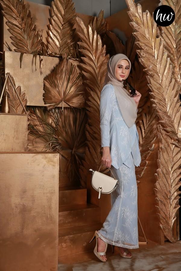 BAJU RAYA 2020 KURUNG MAYSA IN SOFT BLUE - Haura Wear