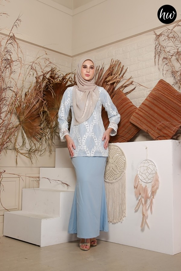 BAJU RAYA 2020 KURUNG NAYLA IN SOFT BLUE - Haura Wear