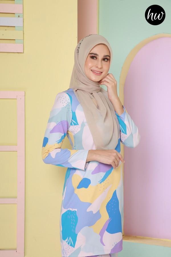 BAJU RAYA 2020 KURUNG LILY IN BLUE&YELLOW - Haura Wear