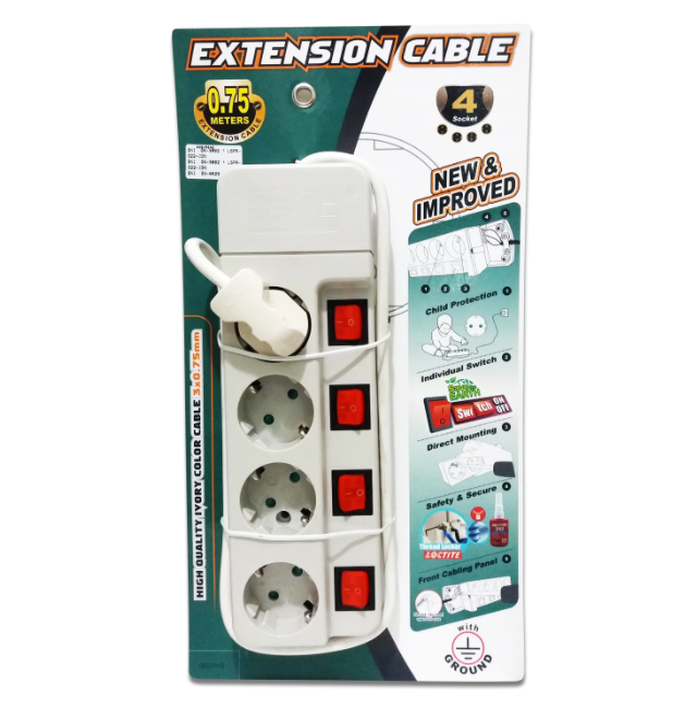 Stop Kontak UTICON Extension Cable With Switch ST-1485SN 4 Lubang