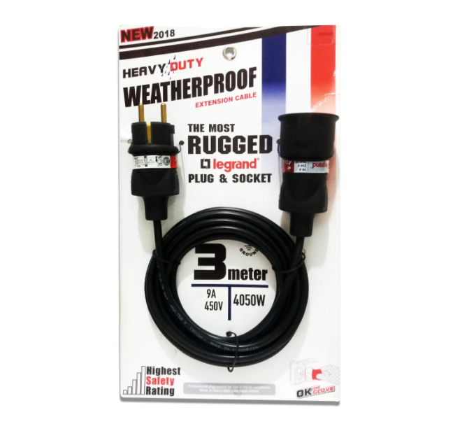 Kabel Listrik RUGGED Extension Heavy Duty Weatherproof 1 Lubang