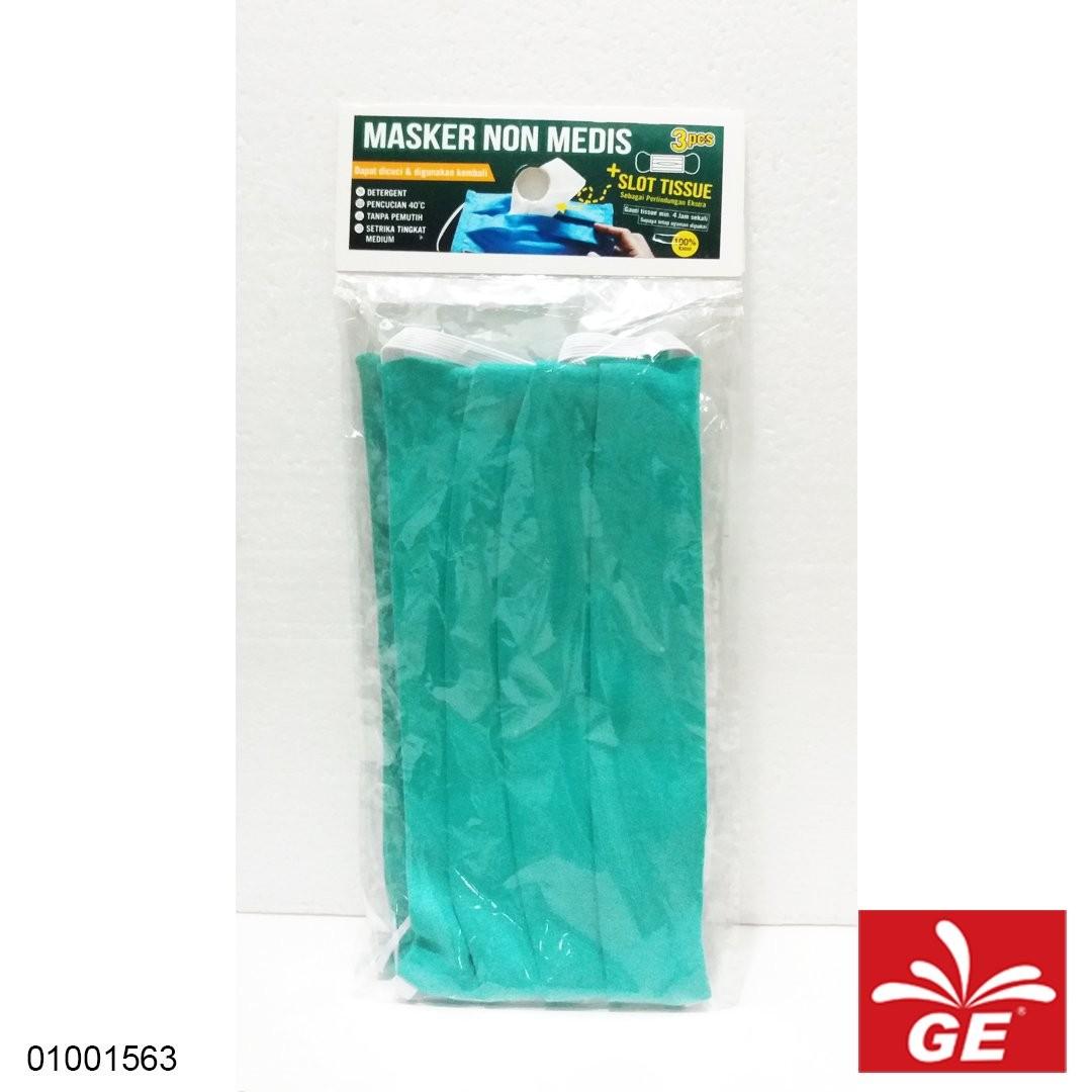 Masker Kain Non Medis Dengan Slot Tissue 3pcs Hijau 01001563